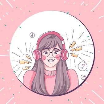 Garota ouve design de personagens de música