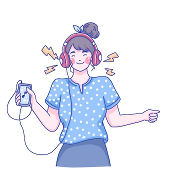 Garota ouve ilustração de personagem de música.