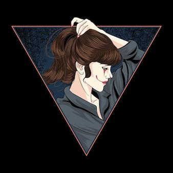 Garota palhaço amarrou o vetor do cabelo com camadas editáveis