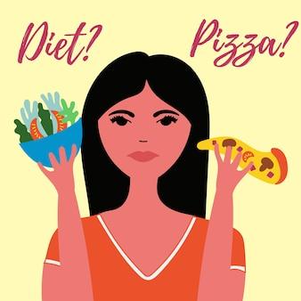 Garota pensa escolher dieta ou pizza comida saudável