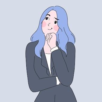 Garota pensando no design de personagens de ilustração vetorial Vetor Premium