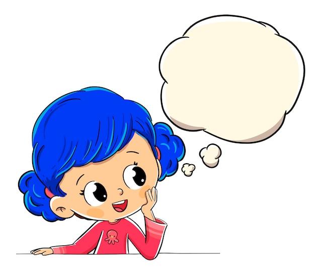 Garota pensando ou imaginando com um balão de quadrinhos