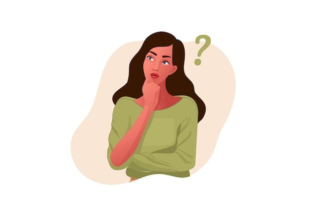Garota pensativa. rosto bonito, dúvidas, problemas, pensamentos, emoções. mulher curiosa questionando, ponto de interrogação.