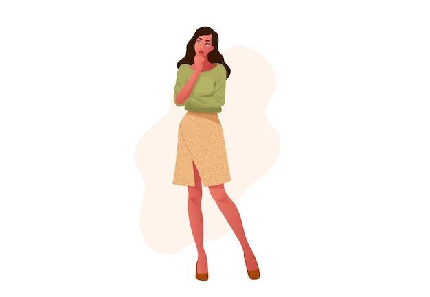 Garota pensativa. rosto bonito, dúvidas, problemas, pensamentos, emoções. mulher curiosa questionando.