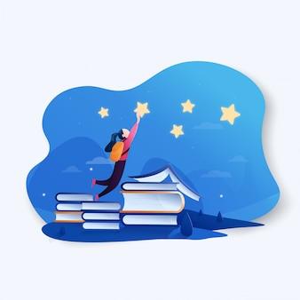 Garota perseguindo o sonho sobre um livro