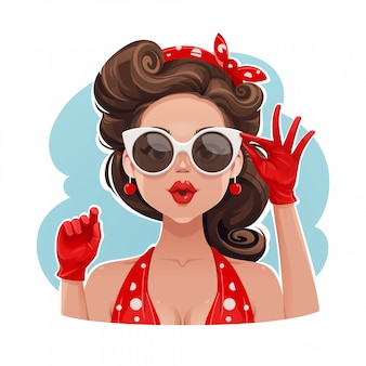 Garota pin-up usando óculos de sol ilustração