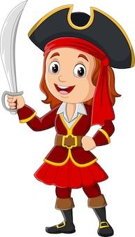 Garota pirata de desenho animado segurando uma espada
