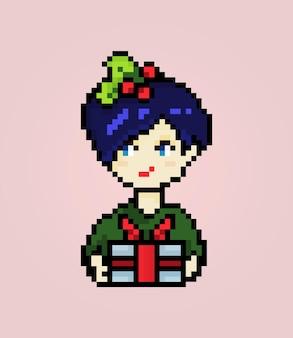 Garota pixel com caixa de presente e decoração de natal