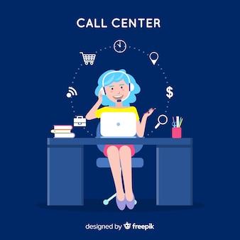 Garota plana, trabalhando em um fundo de call center
