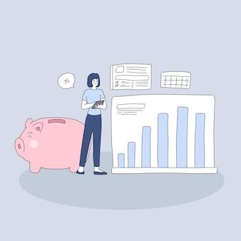 Garota planejando sua ilustração de dinheiro