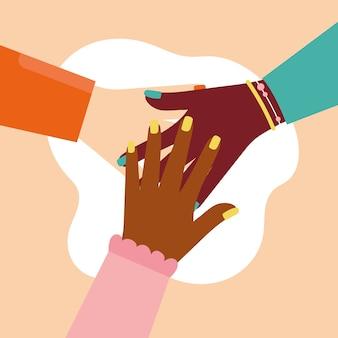 Garota poderosa com design de ilustração vetorial de equipe de mãos inter-raciais