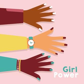Garota poderosa com design de ilustração vetorial de mãos inter-raciais