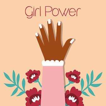 Garota poderosa com mão afro desenho de ilustração vetorial