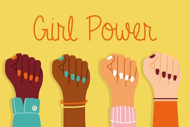 Garota poderosa com mãos inter-raciais para cima juntos design de ilustração vetorial