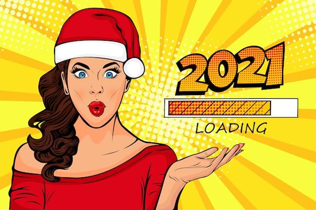 Garota pop art olhando para o processo de carregamento esperando pelo ano novo