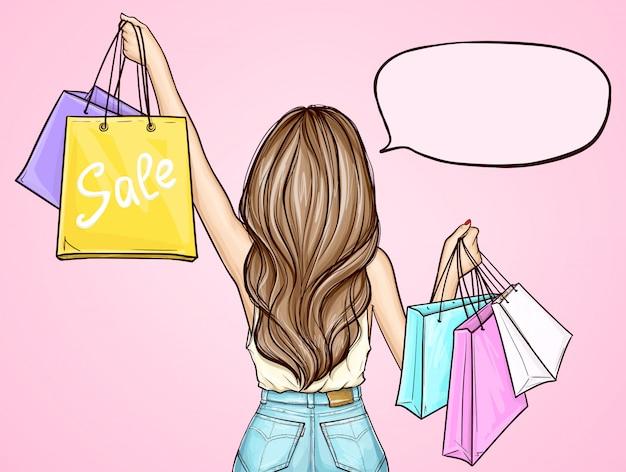 Garota pop art segurando sacolas de compras