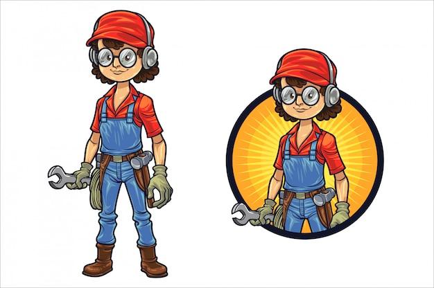 Garota profissional de construção inteligente dos desenhos animados