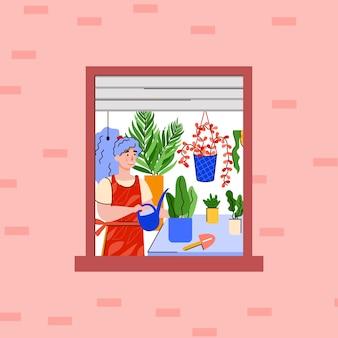 Garota que cuida de plantas caseiras.