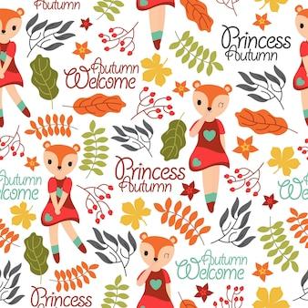 Garota raposa bonito e elementos de outono papel de parede