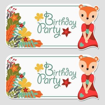 Garota raposa bonito e outono floral adequado para rótulo de aniversário