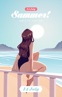 Garota relaxando na praia. cartaz ou folheto das férias de verão. ilustração vetorial