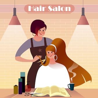 Garota ruiva cortando o cabelo em um salão de cabeleireiro, ilustração de vida urbana.