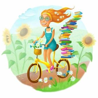 Garota ruiva montando uma bicicleta amarela conceito de férias