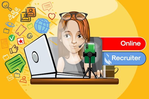 Garota ruiva trabalha em um computador como recrutadora online.