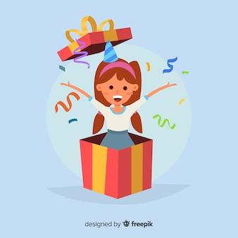 Garota saindo de uma caixa de fundo de aniversário