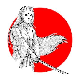 Garota samurai mascarada segurando uma ilustração de katana