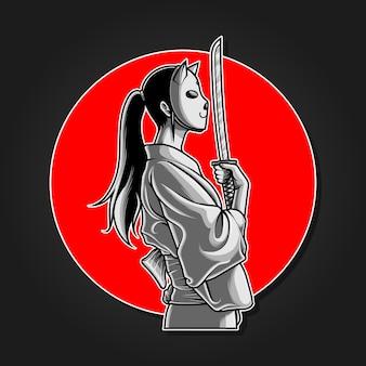 Garota samurai mascarada segurando wakizashi, ilustração monocromática