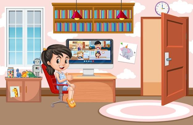 Garota se comunica por videoconferência com amigos em casa Vetor Premium