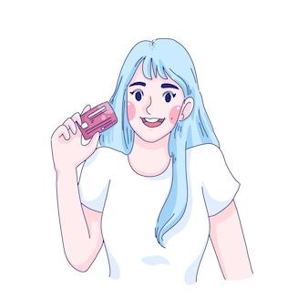 Garota segurando cartão de crédito com ilustração de personagem de desenho animado