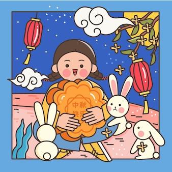 Garota segurando um bolo da lua no festival do meio outono