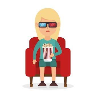 Garota sentada sofá pop corn e filme 3d