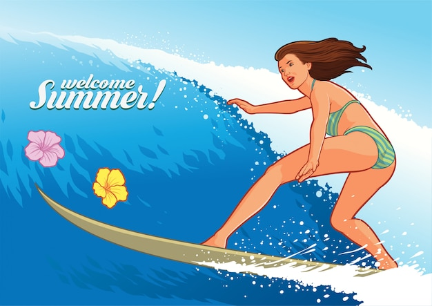 Garota sexy de surf em ação