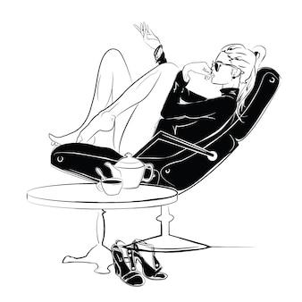 Garota sexy e hidrante no estilo de desenho sobre um fundo de rua-café. ilustração vetorial
