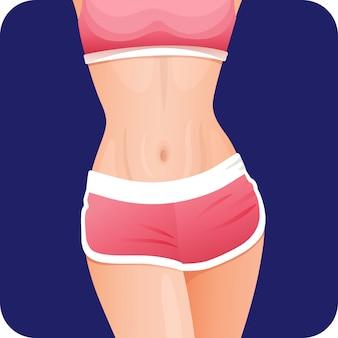 Garota sexy fitness magro na barriga de sportswear rosa, estômago