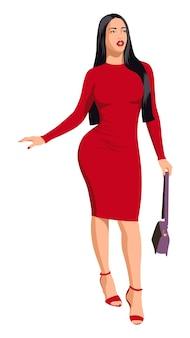 Garota sexy linda no vestido vermelho com formato de corpo fitness lindo de salto alto