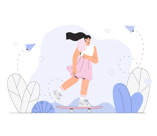 Garota skatista em um vestido e com algodão doce monta um skate no parque da cidade.