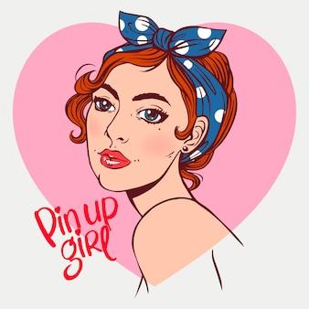 Garota sorridente atraente no estilo pin-up. ilustração desenhada à mão