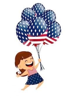 Garota sorridente patriótica segurando balões de ar