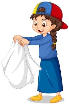 Garota tirando o casaco personagem de desenho animado