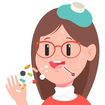 Garota toma comprimidos dos desenhos animados.