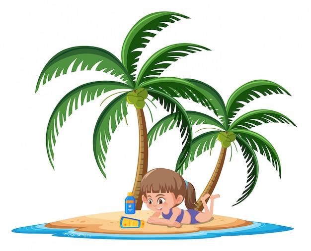 Garota tomando banho de sol com personagem de desenho animado loção protetor solar em fundo branco