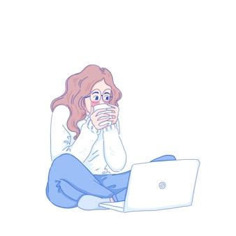 Garota trabalha em casa
