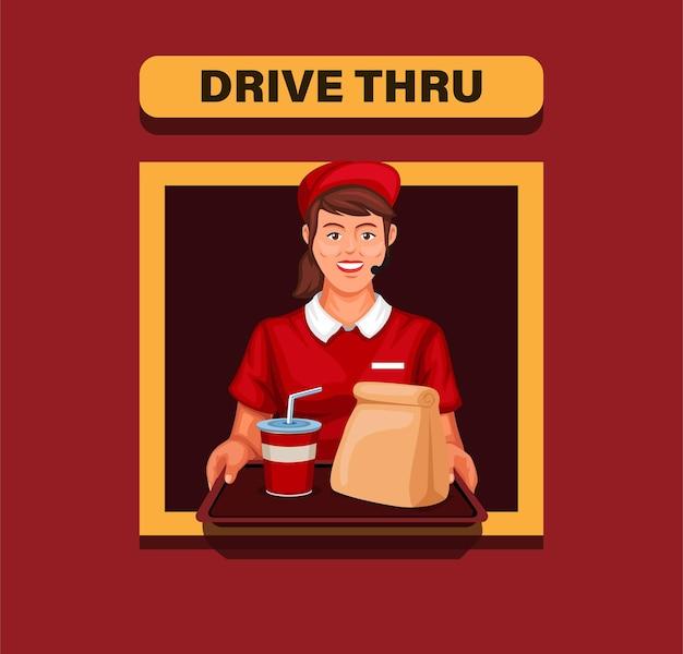 Garota trabalhadora de fast-food no serviço drive thru na ilustração dos desenhos animados