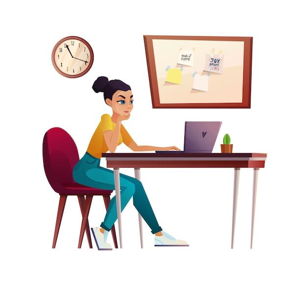 Garota trabalhando em casa, estudante ou freelancer na mesa do computador. videochamada, conferência ou educação.