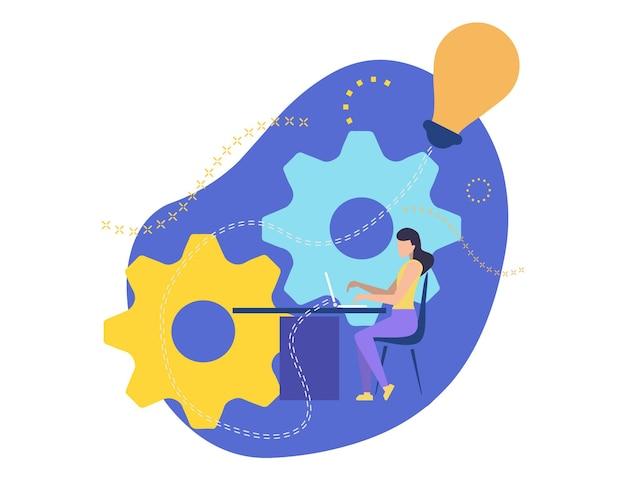Garota trabalhando no laptop. cria um projeto de negócios. mulher de negócios se senta em uma cadeira à mesa e imprime no teclado. trabalho no escritório. implemente a ideia criativa. personagem de ilustração vetorial.