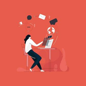 Garota trabalhando no laptop para mídias sociais e o conceito de rede, comunicação on-line, mensagens de estratégias de marketing